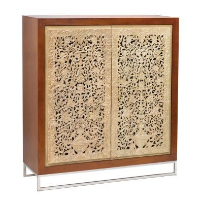 Mango Wood Dark Brown Cream Cabinet - 150027