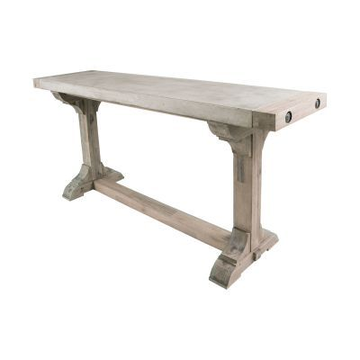 Concrete & Wood Console Table with Waxed Atlantic Finish - 157-020