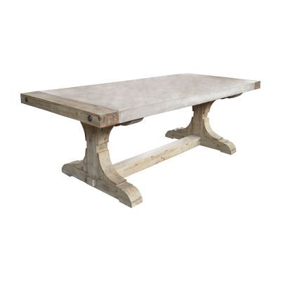 Concrete & Wood Dining Table with Waxed Atlantic Finish - 157-021