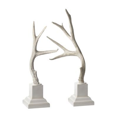 Weathered Resin Buck Antlers On White Base - Set of 2 - 225019