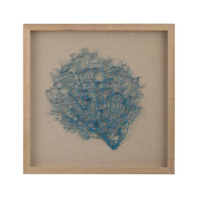 Turquoise Sea Fan On Natural Linen - 3168-026