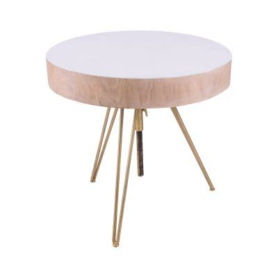 Biarritz Suar Wood Accent Table With Gold Metal Legs - 7159-060