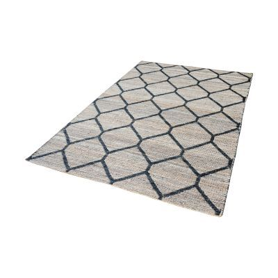 Jacquard Weave Jute Rug In Natural And Black - 2.5ft x 8ft - 8905-073