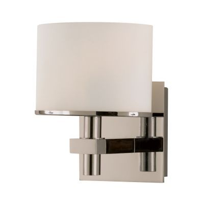 Ombra 1 Light Vanity In Satin Nickel And White Opal Glass - BV511-10-16P