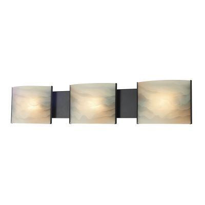 Pannelli 3 Light Vanity In Rubbed Bronze & Alabaster Glass - BV713-HM-45