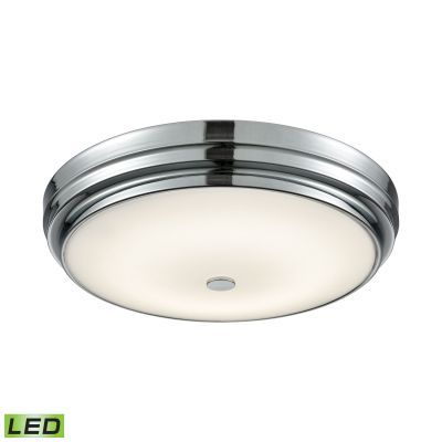 Garvey Round LED Flushmount In Chrome And Opal Glass - Large - FML4750-10-15