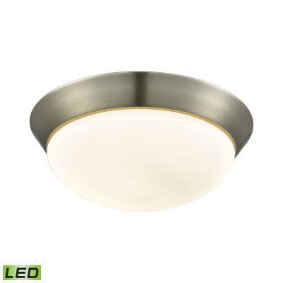 Contours 1 Light LED Flushmount In Satin Nickel & Opal Glass - FML7175-10-16M