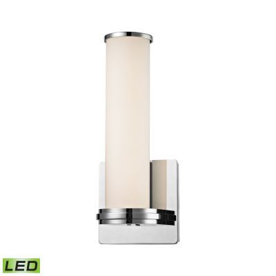 Baton 1 Light LED Wall Sconce In Chrome And White Opal Glass - WSL1301-10-15