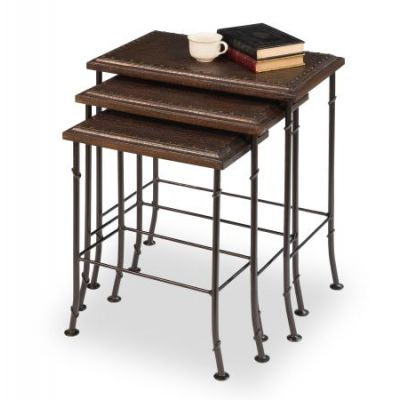 Croc Leather Nesting Tables set of 3 - 25953