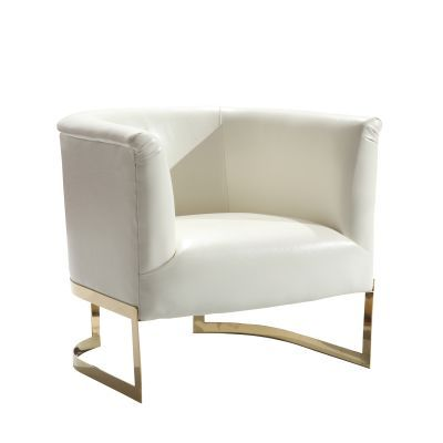 Elite Contemporary Accent Chair In White and Gold Finish - LC560CHWH