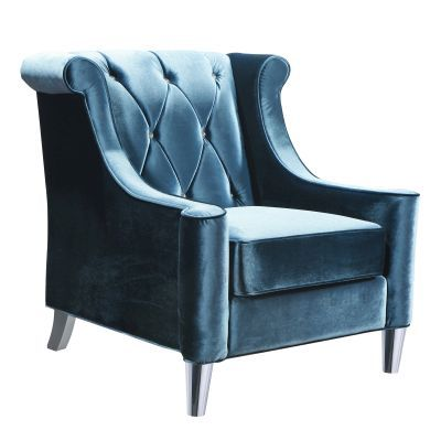 Barrister Chair In Blue Velvet With Crystal Buttons - LC8441BLUE