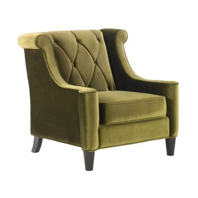 Barrister Chair In Green Velvet With Green Piping - LC8441GREEN