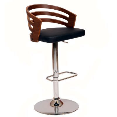 Adele Barstool In Black PU/ Walnut Veneer and Chrome Base - LCADSWBABLWA