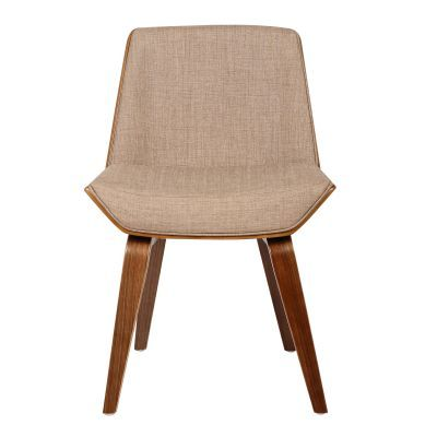 Agi Mid-Century Dining Chair in Walnut and Beige Fabric - LCAGSIWABE