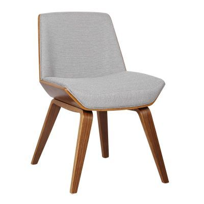 Agi Mid-Century Dining Chair in Walnut and Gray Fabric - LCAGSIWAGRAY