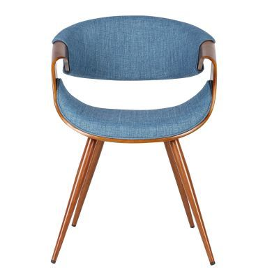 Butterfly Mid-Century Dining Chair in Walnut and Blue Fabric - LCBUCHWABL