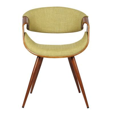 Butterfly Mid-Century Dining Chair in Walnut & Green Fabric - LCBUCHWAGR