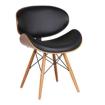 Cassie Mid-Century Dining Chair in Walnut and Black Pu - LCCASIWABL