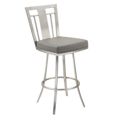Cleo 26'' Modern Swivel Barstool In Gray and Stainless Steel - LCCL26SWBAGRB201