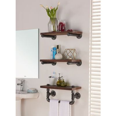 20'' Conrad Industrial Walnut Wall Shelf in Silver Finish - LCCOSH20