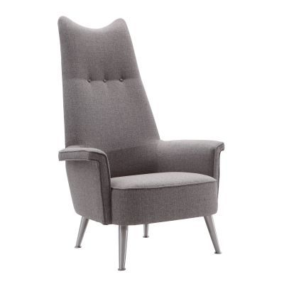 Danka Chair in Brushed Stainless Steel with Grey Fabric - LCDACHGR