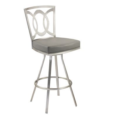 Drake 26'' Contemporary Barstool In Gray and Stainless Steel - LCDR26SWBAGRB201
