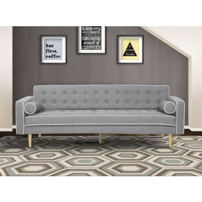 Kennedy Futon Sofa Bed in Gray Button Tufted Fabric - LCKESOGRAY