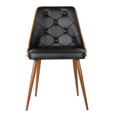 Lily Mid-Century Dining Chair in Walnut and Black Pu - LCLLSIWABL