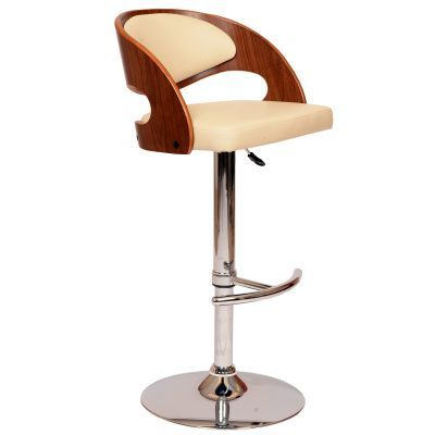Malibu Barstool In Cream PU/ Walnut Veneer and Chrome Base - LCMASWBACRWA