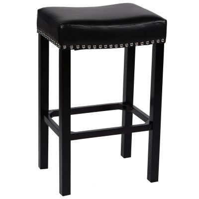 Tudor 30'' Stool Black Bonded Leather with Chrome Nails - LCMBS013BABL30