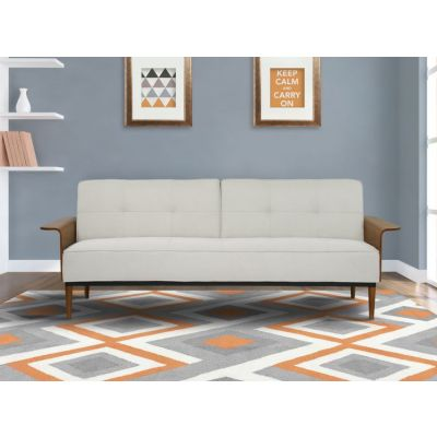 Monroe Convertible Futon Sofa Bed in Beige Tufted Fabric - LCMOSOBE