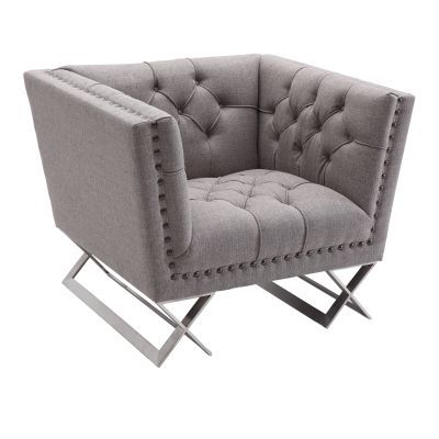 Odyssey Chair in Brushed Stainless Steel with Grey Tweed - LCOD1GR