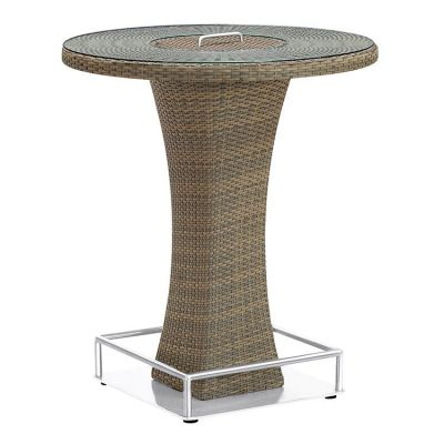 Olina Rattan Storage Patio Pub Table with Clear Glass Top - LCOLBTTOBR