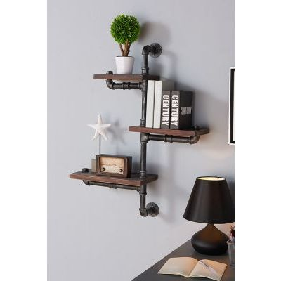 30'' Orton Industrial Walnut Wall Shelf in Silver Finish - LCORSH30