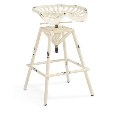 Osbourne Adjustable Industrial Barstool in Antique White - LCOSSTREAW