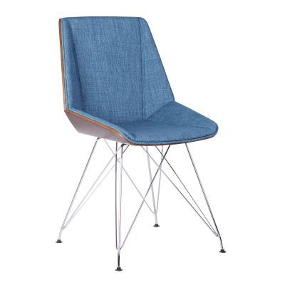 Pandora Chair in Chrome with Walnut wood and Blue Fabric - LCPACHWABL