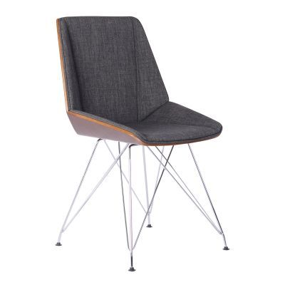 Pandora Chair in Chrome with Walnut wood and Charcoal Fabric - LCPACHWACH