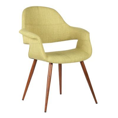 Phoebe Mid-Century Dining Chair in Walnut and Green Fabric - LCPHSIWAGREEN