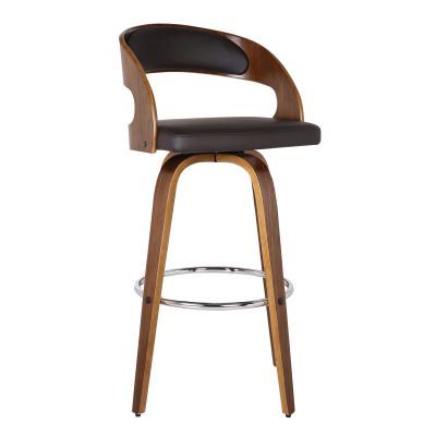 Shelly 30'' Bar Height Barstool in Walnut with Brown PU - LCSHBABRWA30