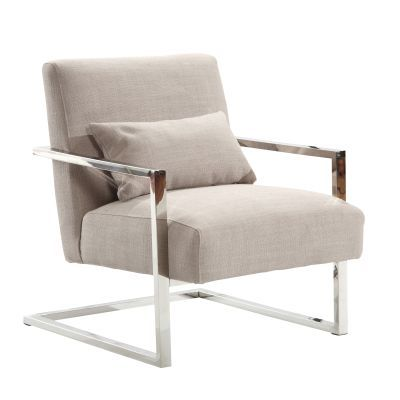 Skyline Modern Accent Chair In Gray Linen and Steel - LCSKCHGR
