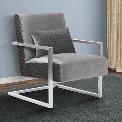 Skyline Contemporary Accent Chair in Gray Velvet - LCSKCHGRAY