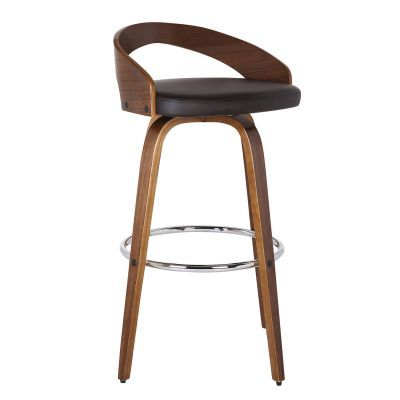 Sonia 30'' Bar Height Barstool in Walnut with Brown Pu - LCSOBABRWA30