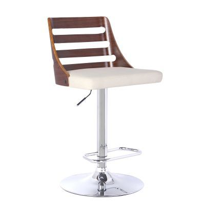Storm Barstool in Chrome with Walnut wood and Cream Pu - LCSTBAWACR
