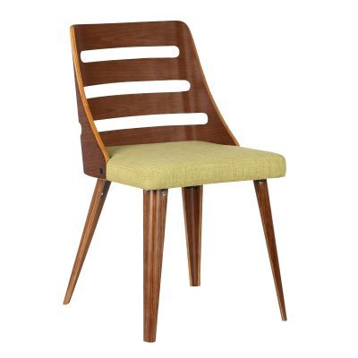 Storm Mid-Century Dining Chair in Walnut and Green Fabric - LCSTSIWAGREEN