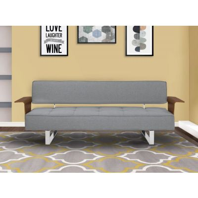 Taft Convertible Futon Sofa Bed in Gray Tufted Fabric - LCTASOGRAY