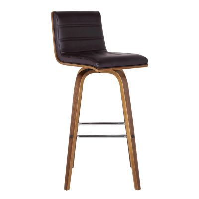 Vienna 30'' Bar Height Barstool in Walnut with Brown Pu - LCVIBABRWA30