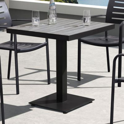 Zander Patio Dining Table in Brown Finished Cast Aluminum - LCZADIBR