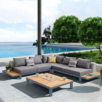 4-Piece Sectional Set with Dark Gray Cushions & Pillows - SETODPO4SE