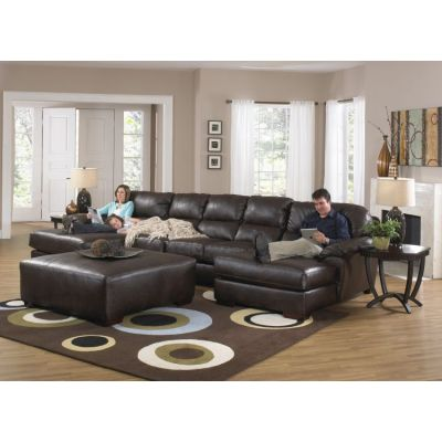 Lawson Sectional Sofa With Cocktail Ottoman in Godiva - 001343_Kit