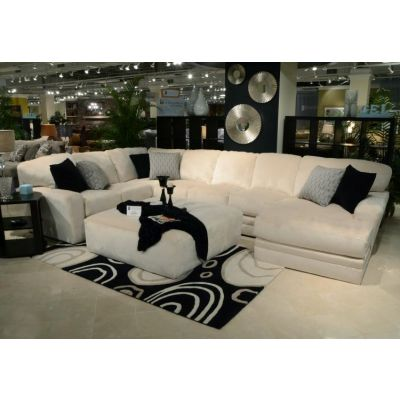 Everest Sectional With Cocktail Ottoman in Ivory - 001348_Kit